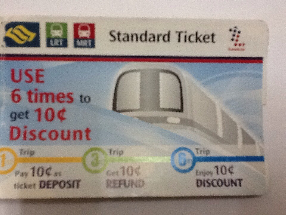 Tiket MRT Singapura